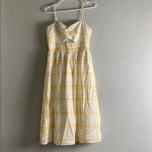 Yellow and white plaid spaghetti strap midi dress